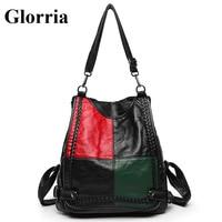 Glorria Women Leather Backpack 2019 Students Large Capacity School Bag Patchwork Softback Bagpack Teenager Girl Shoulder Bag Sac
