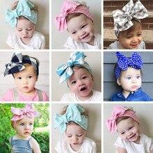 цена на Girls Headbands Kid Fashion Toddler Bow Check Hairband Plaid Floral Headband Stretch Turban Knot Children Big Bow Hot Head Wrap