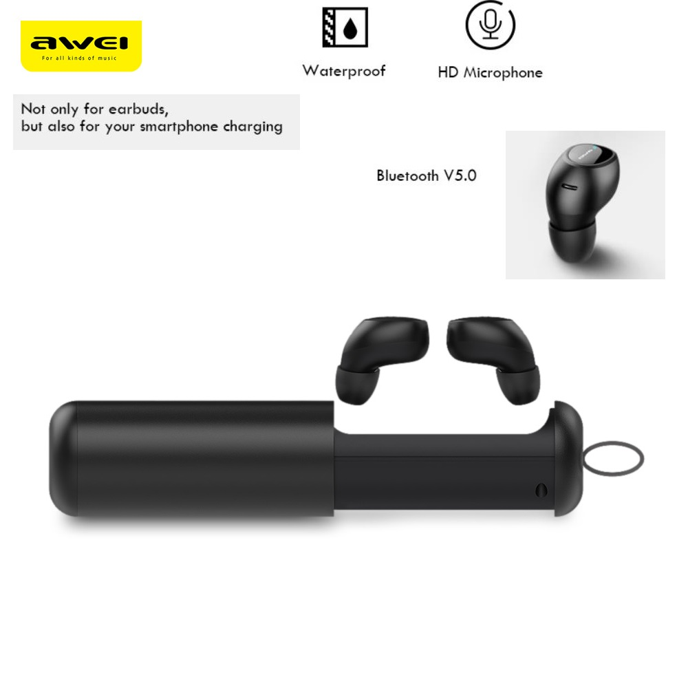 Awei T5 TWS Earphone Twins True Wireless Bluetooth5.0 Earbuds In-ear Charging Base Wireless Charging IPX4 Sweat-proof HD stereo tws 5 0 bluetooth earphone touch control stereo music in ear type ipx6 waterproof wireless earbuds with charging box yz209
