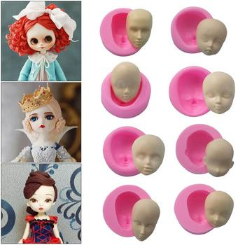 DIY Doll Face Silicone Mold Fondant Molds Cake Decorating Polymer Chocolate Soap Molds Handmade Craft Clay Dolls Face Mould stereo strawberry chocolate cake mold handmade soap silicone molds