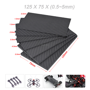 125mm X 75mm Real Carbon Fiber Plate Panel Sheets 0.5mm 1mm 1.5mm 2mm 3mm 4mm 5mm thickness Composite Hardness Material(China)