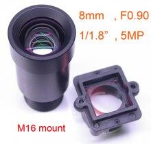 """כוכב אור F0.90 aparture 8mm עדשת 5MP 1/1. 8 """"פורמט עבור תמונה חיישן IMX327, IMX307, IMX290, IMX291 מצלמה PCB לוח מודול F0.9"""