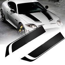 2pcs 85cmx24cm Black Vinyl Car Hood Stickers Racing Sports Bonnet Stripe Decals 20cm 450cm car vinyl decals hood stickers racing stripes