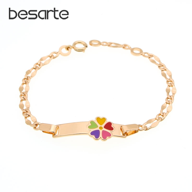 Rainbow Gold Bracelets Baby Girl Kids Jewellery Baby Armband Child Bangle Pulsera Bebe Bransoletki Bebek Bilezik Bracciale B0929