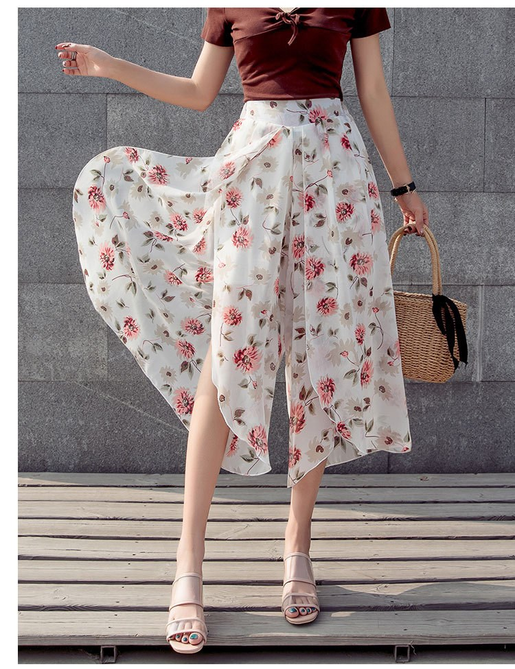 Women Wide Leg   Pant   Floral Female High Waist Summer   Pants   For Women Loose Trousers Ladies Clothing