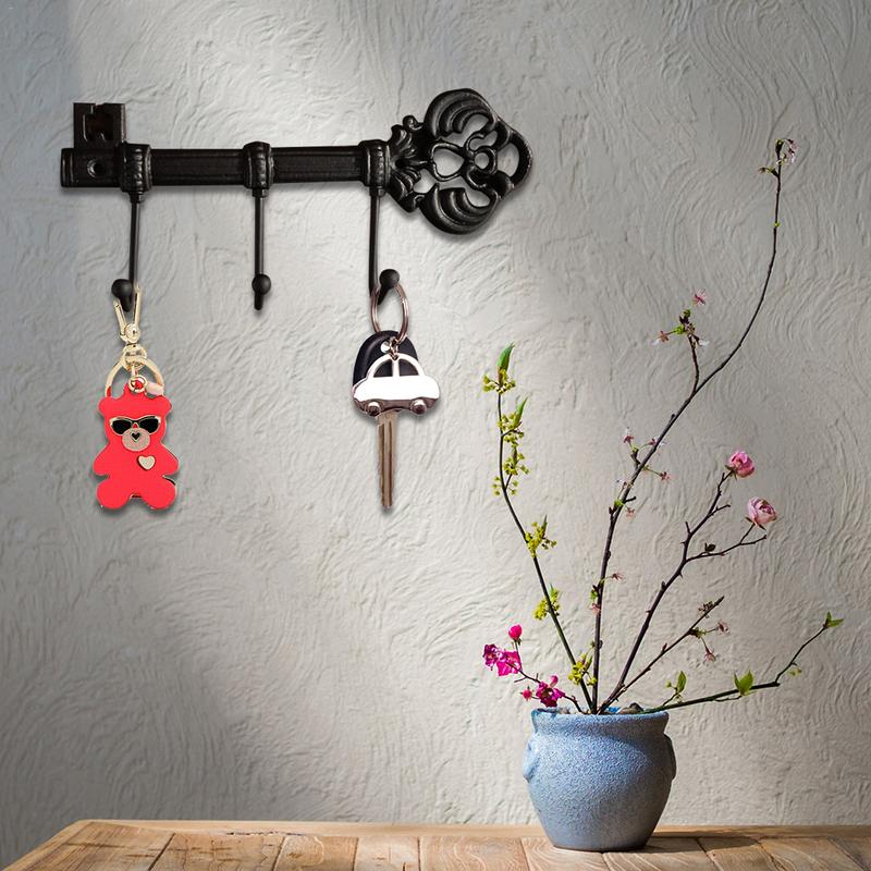 Decorative Wall Mounted Skeleton Key Holder Vintage Cast Iron Key Hanger Rack With 3 Hooks ...