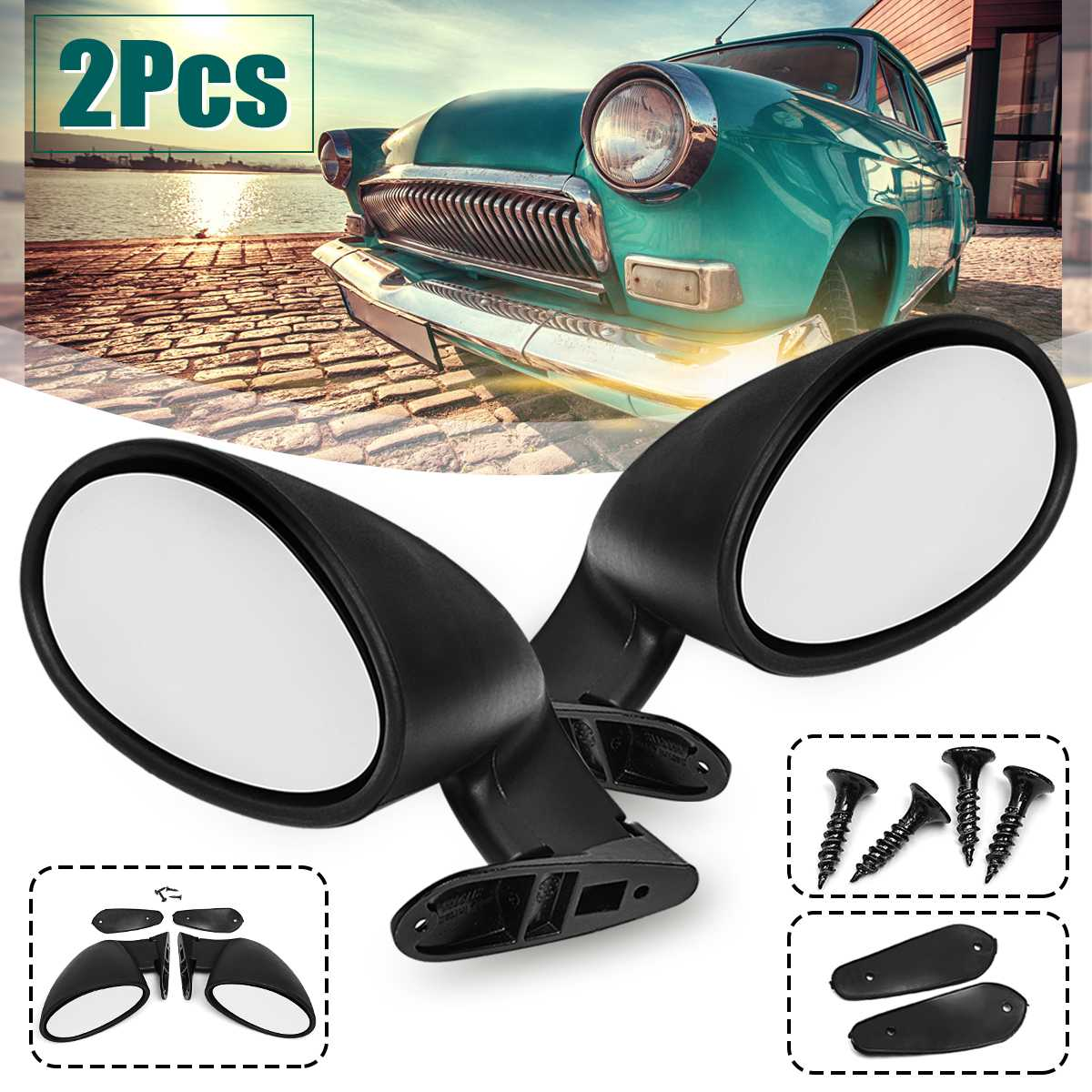 L+R Racing California Universal Retro Door Wing Side Mirror Universal Fit Vintage Matte Black Mirror Motorcycles Parts