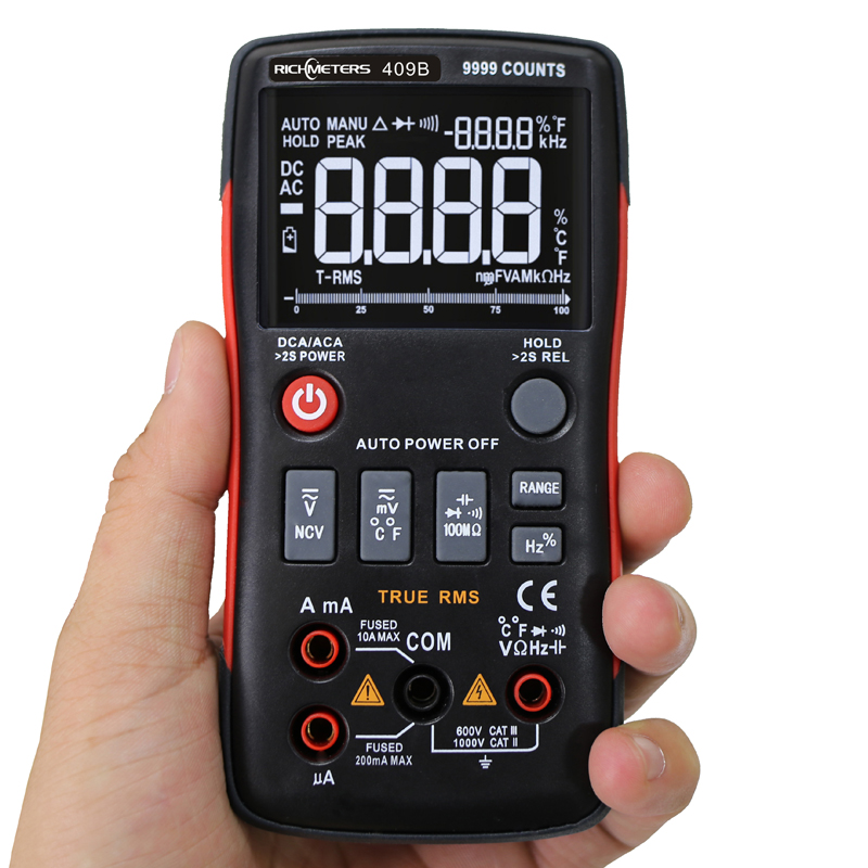 RM409B True RMS Digital Multimeter Button 9999 Counts With Analog Bar Graph AC DC Voltage Ammeter