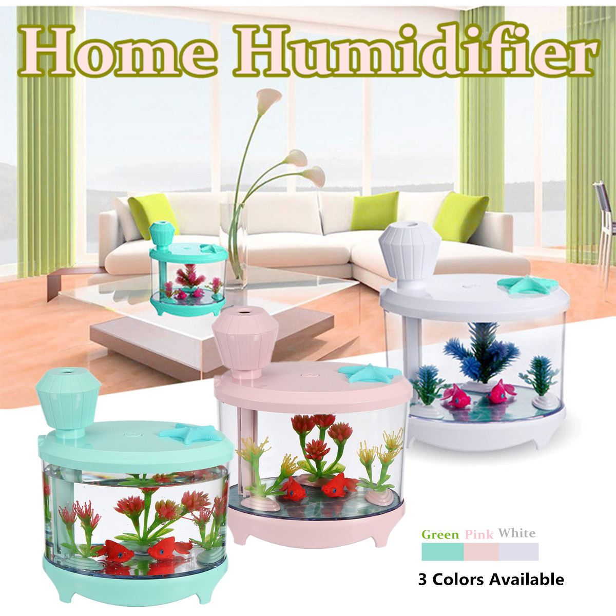 5V USB Fish Tank Shaped Humidifier Air Diffuser Purifier Aroma Mist Maker LED Light for Bedroom Study Office Living Room Colors