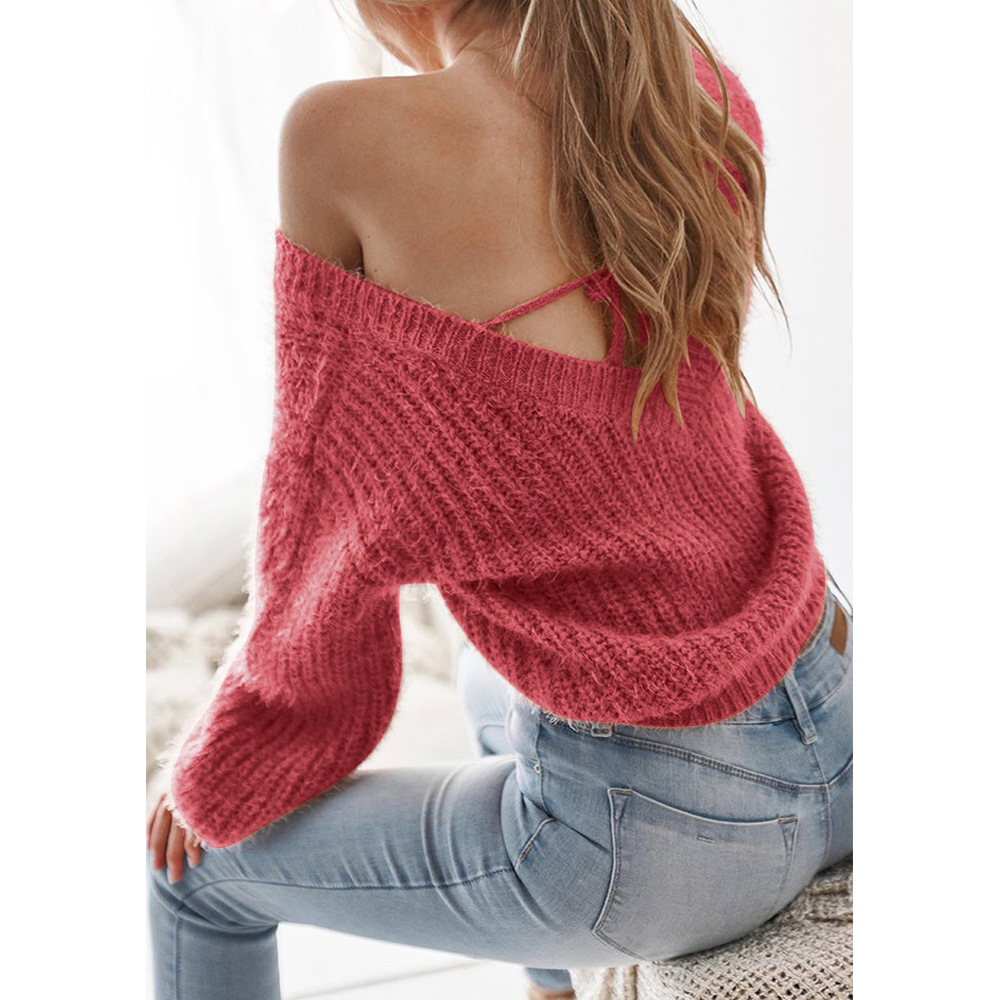 2018 NEW Autumn Women V Neck Knitted Sweater Casual Sexy Backless Lace Up Female Winter Loose Sweater Jumper Solid Pullover Tops