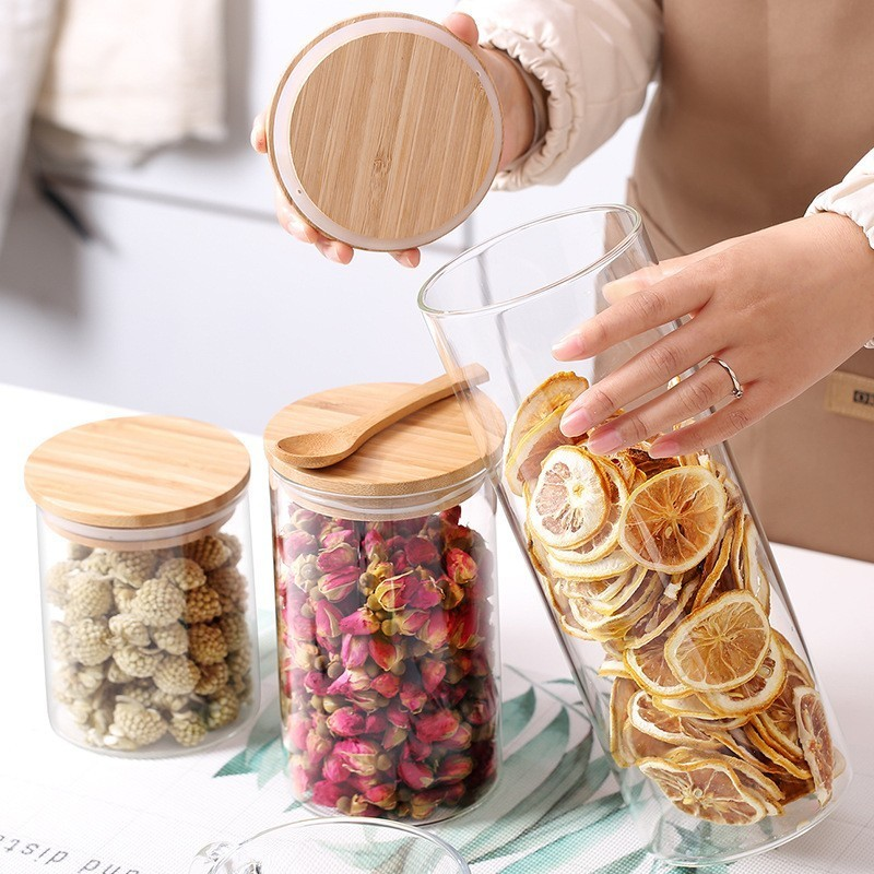 Food Storage Cereal Container Air Tight Canisters With Bamboo Lids Glass Jars for Kitchen Storage cup