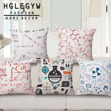 HGLEGYW в виде математических формул и Подушка Чехол из хлопка и льна с наволочки для офиса домашний текстиль