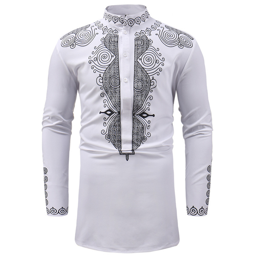 2019 New Men African Clothes Print Rich Bazin Traditional Fashion Tops Dashiki Africa Dresses for Man Shirt Maxi Size M-3XL