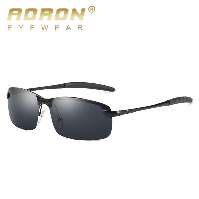 AORON Mens Glasses Polarized Sunglasses Male 2018 Driver's HD Goggles Mirror Polarized Sun Glasses Metal oculos de sol masculino