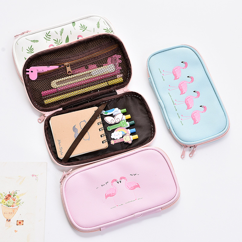 Kawaii Flamingo Pencil Case Canvas Large Capacity Multifunction Pencil Bags Pen Box School Supplies Stationery Student Girl Gift