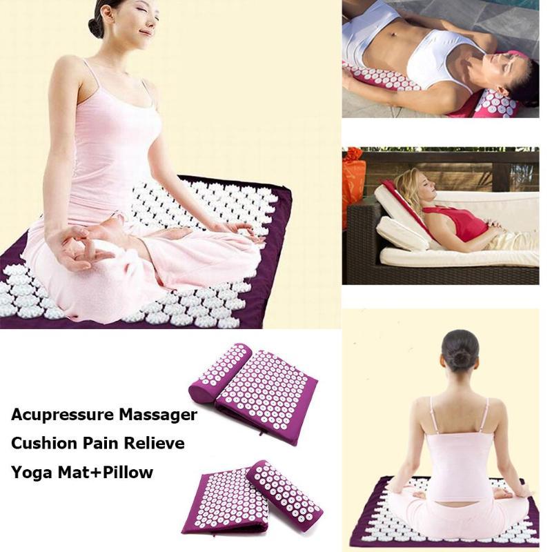 Yoga Mat Massage Cushion Acupuncture Sets Relieve Stress Back Pain Acupressure Mat Pillow Massage Rose Spike Massage Relaxation