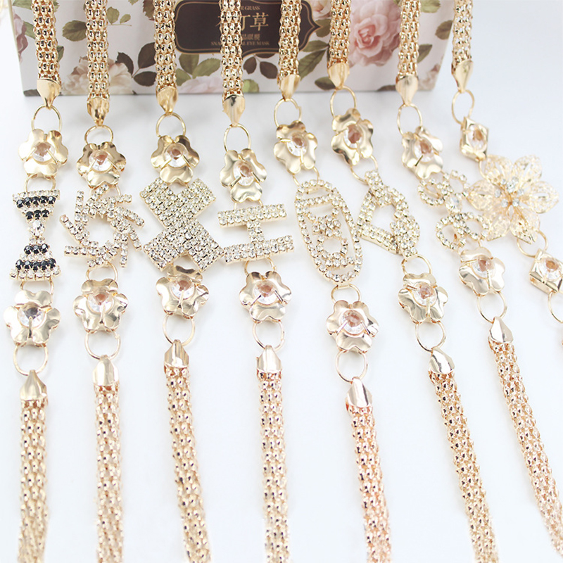 Damen Gold Metall Strass Gürtel Kette Mode Kleider