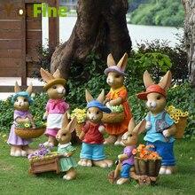 YOUFINE Creative cute rabbit flower cylinder home decoration garden  balcony sculpture simulation