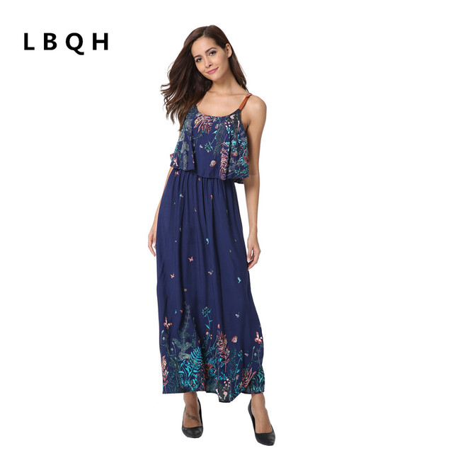 LBQH New Women's Fashion Sexy Sleeveless Sling Brand Dresses High Quality Chiffon Print Women's Feather Long Side Dress