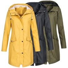 Coat Women Fashion Long Sleeve Hooded Raincoat Windbreaker Hiking Ladies Casual Solid Color Outdoor Waterproof Trench