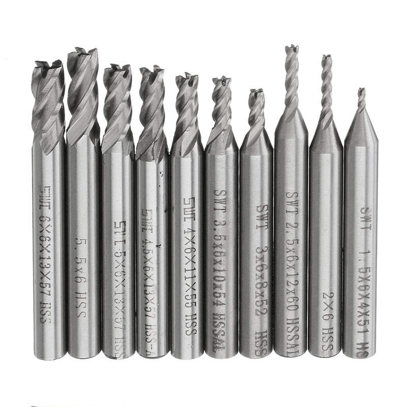 10Pcs HSS 4 Flute End Mill Cutter 6mm Straight Shank Aluminum CNC Drill Router Bit Set 1.5/2/2.5/3/3.5/4/4.5/5/5.5/6mm