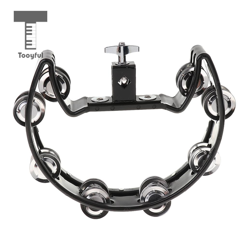 Tooyful Music Rattle Tambourine Handbell Shaker With 4 Pairs Of Stainless Steel Jingles For Precussion Accompaniment