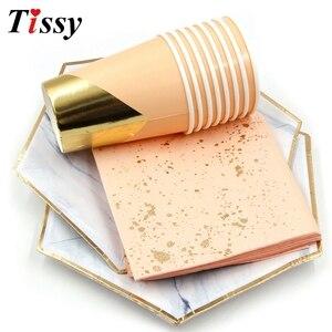 Image 4 - Os utensílios de mesa descartáveis ouro rosa imitação placa de mármore dourado palhas de papel/decoração cuptable casamento/aniversário/festa suprimentos