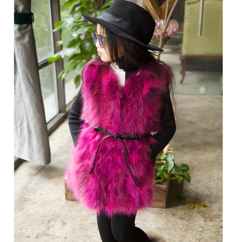 Children's Real Raccoon Fur Vest Baby Girls Autumn Winter Thick Warm Long Fur Outerwear Vest Kids Solid V-Neck Vests V#13