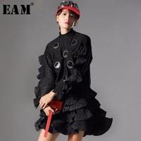 [EAM] Tailor made Women T shirt 2020Autumn Winter Fashion Pullover Long Sleeve Ruffles Dot Women Top Tees AZA151