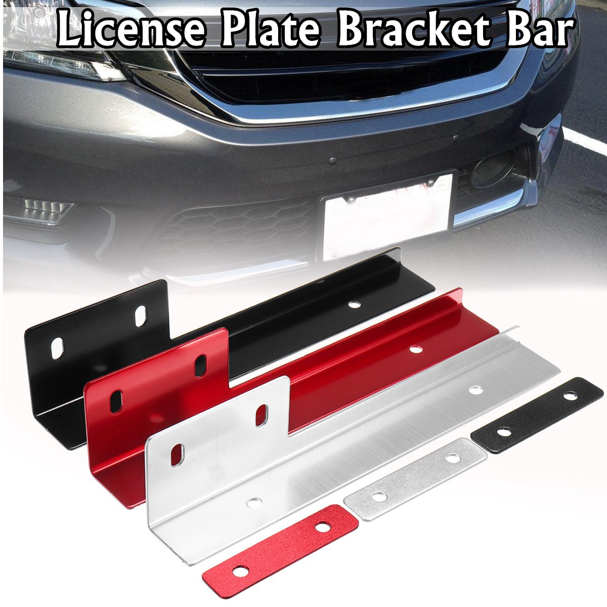 Universal Brused Aluminum Front License Plate Mounting Relocate Bracket Holder