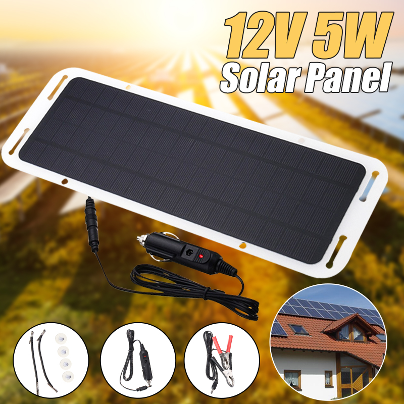 New <font><b>12V</b></font> <font><b>5W</b></font> <font><b>Solar</b></font> <font><b>Panel</b></font> Car Charger <font><b>Solar</b></font> Car Battery Maintainer Charger for <font><b>12V</b></font> Battery of Car Auto Motorcycle Tractor Boat image