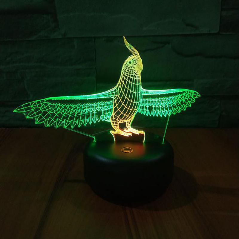 Parrot Led 3d Colorful Night Light Creative Visual Touch Charging Gift Usb 3d Lamp Christmas Decorative Lights