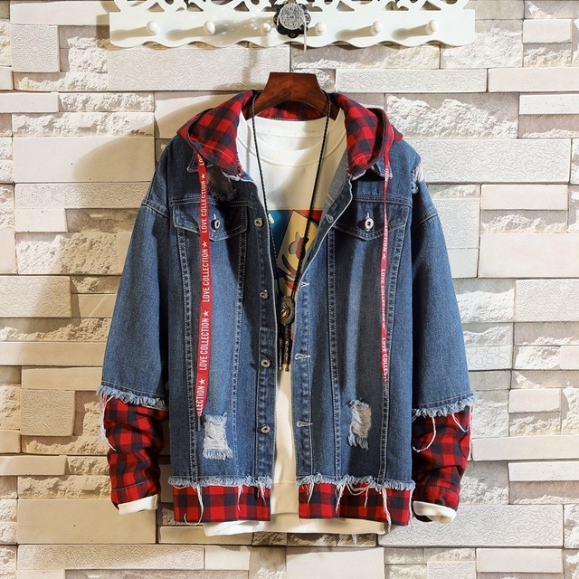 #7423 2019 Spring Fake Two Piece Patchwork Streetwear Denim Jacket Men Plus Size 3XL Hip Hop Ripped Jeans Jacket Hooded Unisex