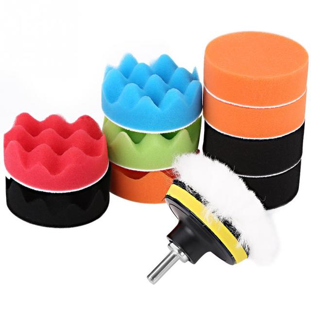 12Pcs 3 Inch Car Polishing Pads Sponge Buffing Polishing Pad Kit for Car Polisher with Drill Adapter Buffing Car Accessories