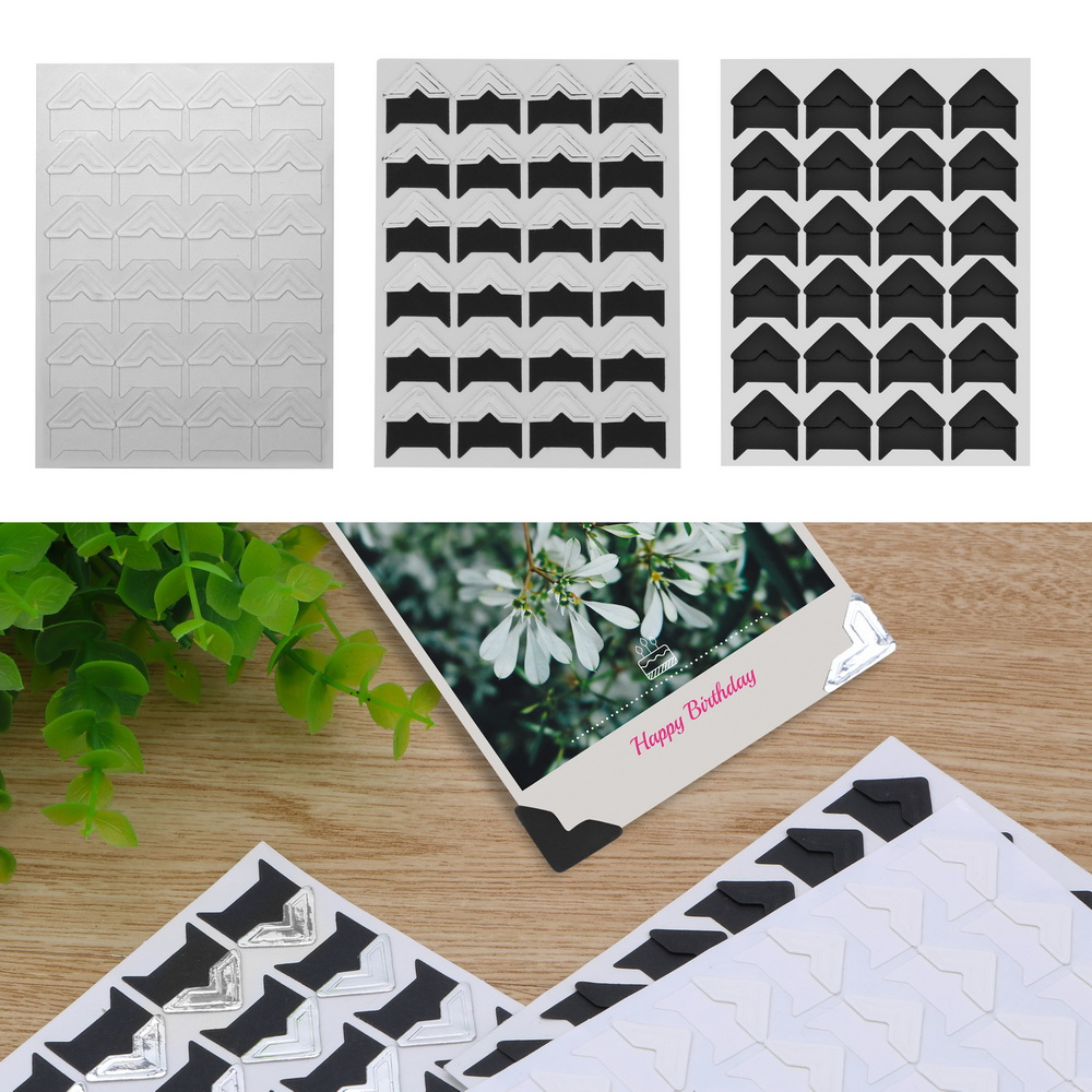 24 pcs/lot Photo Corner Sticker DIY Corner Kraft Paper Stickers for Photo Albums Vintage Album Frame Decoration Scrapbooking
