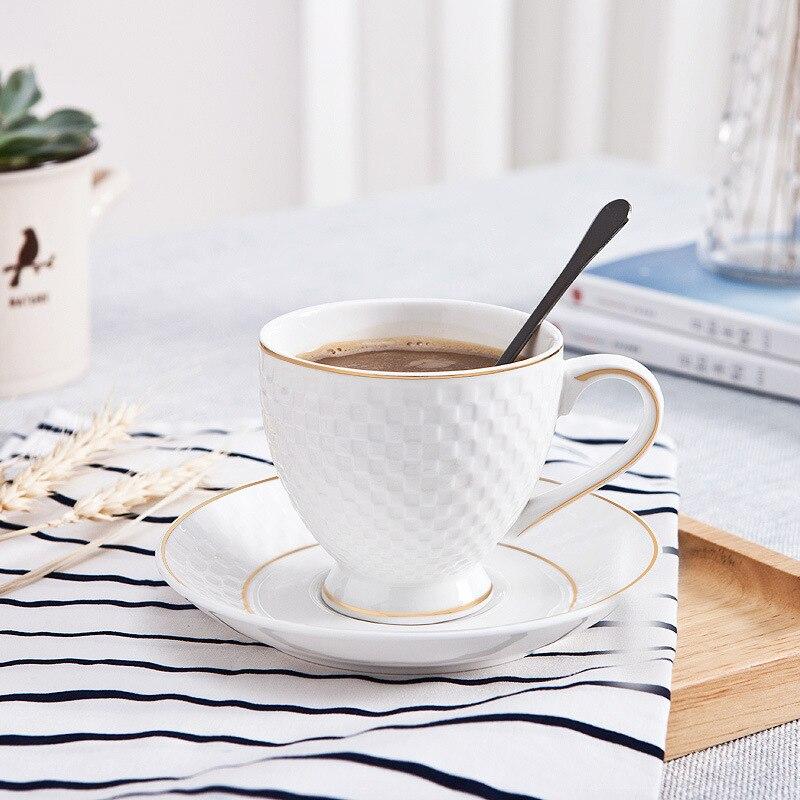 Juegos de Taza de Café de Cerámica y platillos con borde dorado blanco puro relieve 3D baratos, Tazas de té de la tarde, Tazas de café expreso