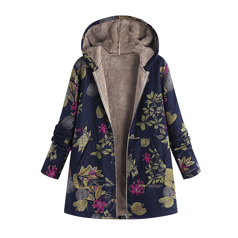Abrigos Mujer Invierno 2018 Women Faux Fur Hooded Parka Coat Floral Print Side Pockets Warm Vintage Casual Long Coat Outwear