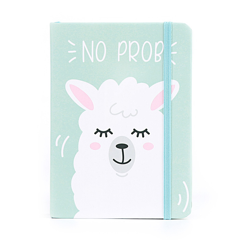 A7 10.5x7.5cm Light Blue Lovely Cartoon Baby Alpaca Drawing Notebook Daily Notepad Lovely Stationery Office School Supplies