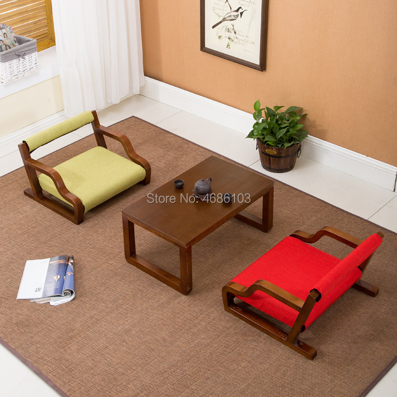 New Japanese Chair Solid Wood And Room Chair Fabrics Household Leisure Tea Table And Chair Combination Balcony Floating Window