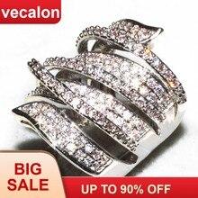 f9cacae65d38 Vecalon hecho a mano gran cruz anillo 170 piezas 5A Zircon Cz de la plata  esterlina 925 compromiso boda banda anillos para las m.