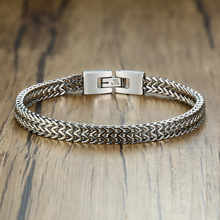 Men Charm Stylish Stainless Steel Silverly Bali Foxtail Chain Bracelet for Men Double Link Chain Bracelets Male Hombre Jewelry foxtail