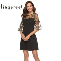 Vintage lace little black party dress elegant summer embroidery flower sexy sleeve short chiffon women dresses frocks plus size