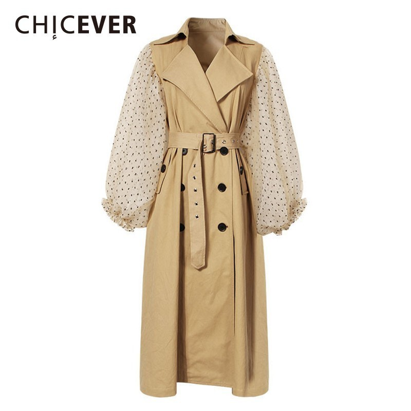 CHICEVER Patchwork Mesh Windbreaker Lapel Polka Dot Lantern Sleeve Adjustable Waist Double Breasted Trench Coat Female