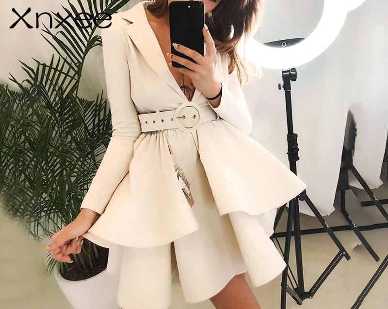 Xnxee Layered ruffle winter dress elegant 2019 OL tiered autumn women dress party High waist sash