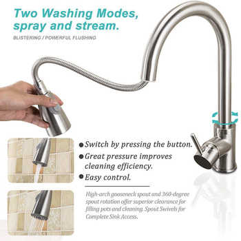 Swivel Durable Kitchen Faucet Tap Single Hole Brushed Nickel Stream Rotation Mixer Sink Pull Out Handle Sprayer Spray