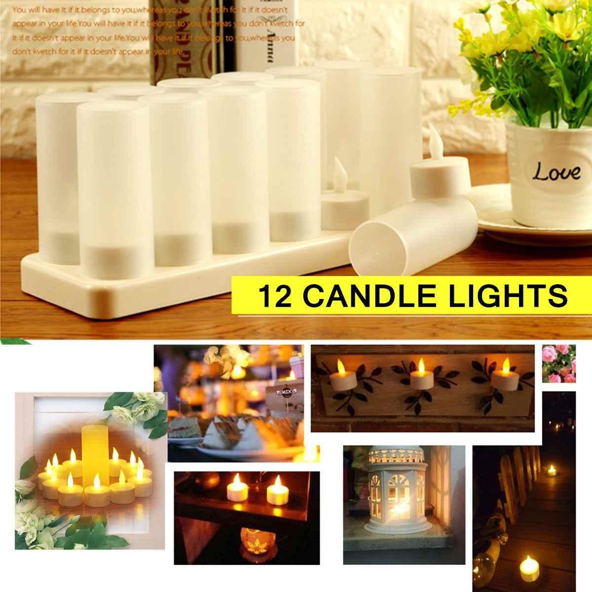 12 có thể sạc lại Nhấp Nháy LED Trà Nến Đèn Với Chủ Cho Bữa Ăn Tối Đám Cưới Ngọn Lửa Định Hình LED Bóng Đèn cho Đám Cưới Của Bên