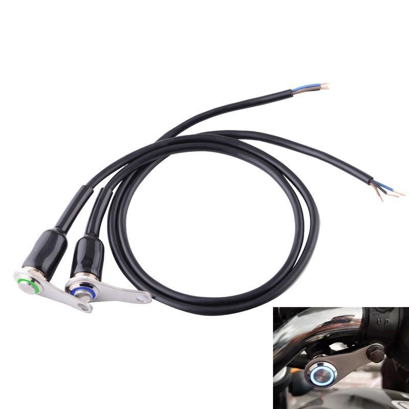 Stainless Steel LED Motorcycle Switch ON-OFF Handlebar Adjustable Mount Waterproof Switches Button DC12V Headlight