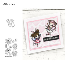JCarter Lovely Little Fairy Metal Cutting Dies or Rubber Clear Stamps for Scrapbooking DIY Embossing Folder Paper Maker Template