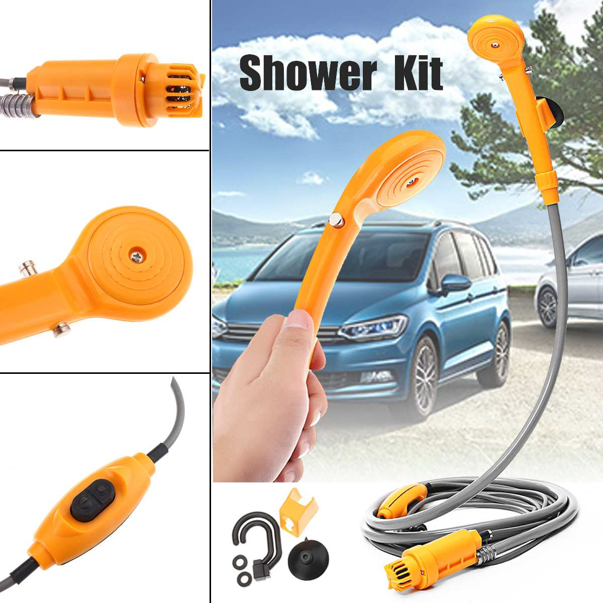 2.5 L/M Portable 12V Electric Car Plug Outdoor For Camper Caravan Van Washer Tools Bathing Camping Travel Shower Pump Pipe Kit