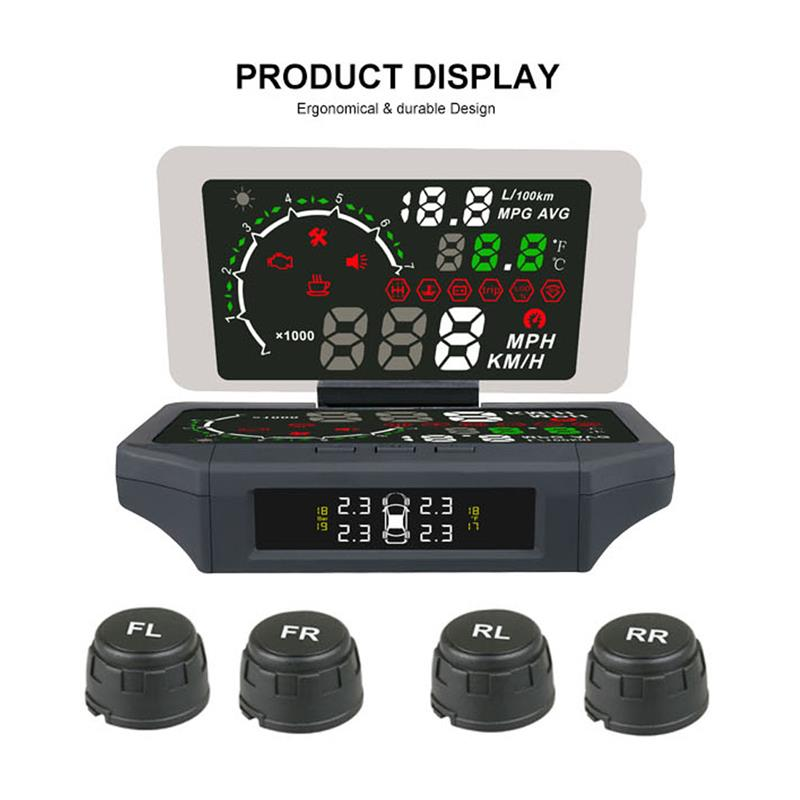 3 in 1 Car HUD Head Up Display TPMS Tire Pressure Sensor Monitoring Film OBD 2 II Code Readers KMH/MPH Auto Obd2 Diagnostic Tool geyiren x5 avtomobilej head up displej 3 djujmov hud avtomobilja obd ii vozhdenie avtomobilja skorost preduprezhdenie jelektronnyj budilnik naprjazhenie vetrovogo stekla proektor